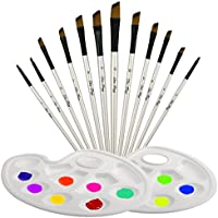 TedGem Pincel conjunto de 12 piezas pinceles al óleo con 2 piezas paletas, pincel de nylon hecho por madera para acuarela y dibujo