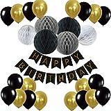Eburtstag Dekoration, Recosis Happy Birthday Girlande mit Luftballons Latexballons und Wabenbälle Papier für Geburtstag Dekoration - Schwarz