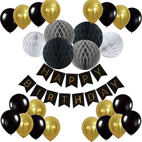 Eburtstag Dekoration, Recosis Happy Birthday Girlande mit Luftballons Latexballons und Wabenbälle Papier für Geburtstag Dekoration - Schwarz (Machen Sie Eine Piraten Kostüm Frauen)
