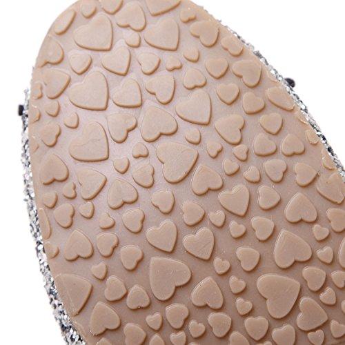 dqq Chaussures pour Femme avec nœud à enfiler Plat à sequins pour femme Argent - argent