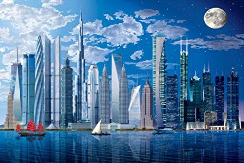 1art1 54696 Gebäude - Die Höchsten Wolkenkratzer Der Welt 8-Teilig Fototapete Poster-Tapete 368 x 254 cm