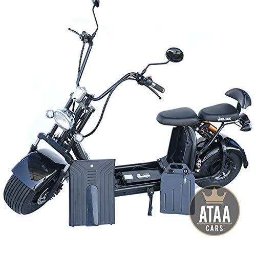 ATAA Citycoco Immatriculable Double Batterie Amovible 60V Moteur 1500w Scooter électrique...