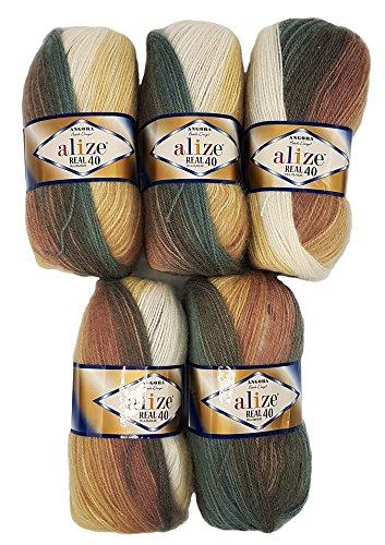 5 x 100 g Alize Strickwolle 40% Woll-Anteil, mehrfarbig mit Farbverlauf, 500 Gramm Wolle (braun beige creme u.a. 4726)
