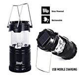 #9: ShopX LED Solar Emergency Collapsible Light Lantern + USB Mobile Charging point, 3 Power Source Solar, Battery, Lithium Battery, Travel Camping Lantern Black