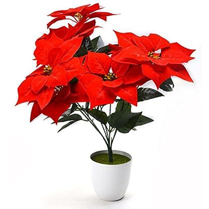 VORCOOL Real Touch Franela Artificial Navidad Flores Rojas Poinsettia arbustos Ramos de Navidad árbol Adornos Centro de Mesa para la decoración de la Oficina de Navidad (Rojo)