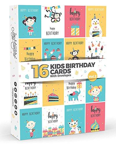 Joy MastersTM Kinder-Geburtstagskarten Vol.2, Großpack für Jungen und Mädchen, 16 Stück