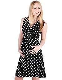 KRISP® Femmes Robe Portefeuille à Pois Noeud Torsadé Collection Maternité