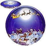 Unbekannt 4 Stück _ große Teller / Plätzchenteller - Weihnachtsmann & Rentiere - Ø 26,5 cm - rund - Mehrweg - Blech / Metall - Weihnachtsteller / Keksteller - Weihnacht..