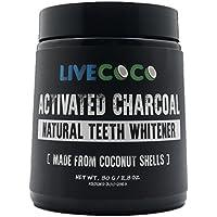 Carbón Activado LiveCoco para Blanqueamiento Dental, Blanqueamiento Dental Natural con Cáscaras de Coco, RAW y Grado Alimenticio sin Aromatizantes Artificiales, 100% Natural, Tina Grande, 80g=300 Us