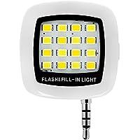 Hrph Noir Mini Portable 16 Flash LED Fill Light Selfie Nuit Photo Torche Fill Light Vidéo pour Téléphone iPhone HTC LG