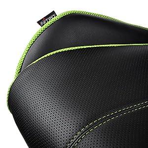 Nitro Concepts E200 Race Silla de Juego – Oficina – Cuero sintético – Acolchado de Espuma fría – 120 kg – Diseño de Asiento de Carreras – Negro/Verde