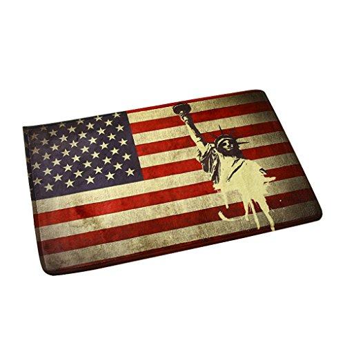 Preisvergleich Produktbild Retro Fußmatte Fußabtreter Schmutzfangmatte Schmutzmatte Türabstreifer Türmatte Fußabstreifer Anti Rutsch für Schlafzimmer Wohnzimmer Küche Beistelltisch 40 x 60CM (Amerikanische Flagge)