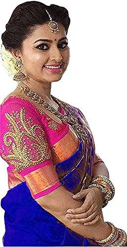 Saree Center Saree (_Blue_Free Size)