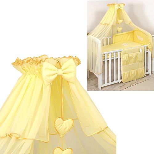Chiffon Himmel 480x150cm für Baby Bett Moskitonetz Deko - Herzen Schleife Betthimmel gelb