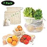 YiCutte Wiederverwendbare Obst Tasche,Obst- und Gemüsenetz, Einkaufsbeutel,100% Baumwolle,Stoffbeutel, plastikfreie Einkaufsnetze,Wiederverwendbare Produce Taschen,Gemüsebeutel (7er Set)