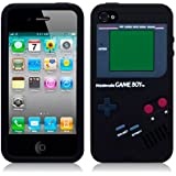 IPHONE 4 / IPHONE 4S GAMEBOY STYLE SILICONE SKIN CASE / COVER / SHELL - BLACK
