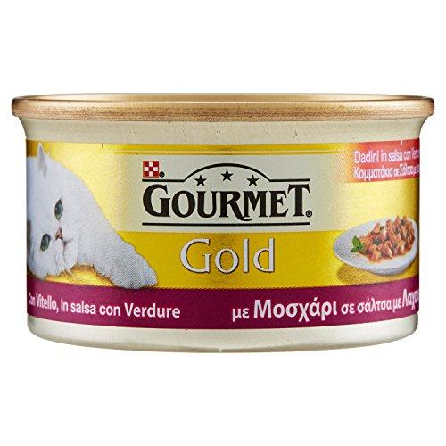 Gourmet Gold Alimento per il Gatto Dadini in Salsa con Vitello in Salsa con Verdure, 85 g - Confezione da 24 Pezzi