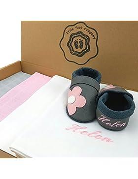 Stoffwindeln, Spucktücher im Geschenkeset und handgemachte Krabbelschuhe Babyschuhe Lauflernschuhe, personalisiert...