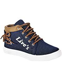 Allez Kros Casual Sneaker for Men's (7, Blue-Brown)