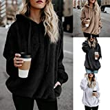 OSYARD Damen Reißverschluss Kapuzenpulli Mantel Winter Warme Wolltaschen Mantel Outwear, Frauen mit Kapuze Fuzzy Sherpa Sweatshirt Fleece Pullover Warmer