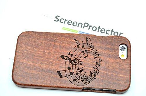 RoseFlower® Coque iPhone 6 4.7'' en Bois Véritable - Fleurs de noyer mandala grande moitié - Fabriqué à la main en Bois / Bambou Naturel Housse / Étui avec Gratuits Film de Protecteur Écran pour votre Musiquedepalissandre