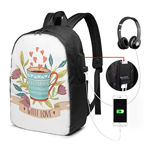 Usicapwear Backpack,Hand Drawn Cup Flower Blossom and Heart with Love Quote Romantic Valentines Day