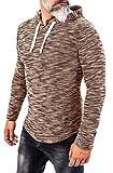 Rock Creek Herren Longsleeve Shirt Langarm Hoodie Sweatshirt Kapuzenpullover Langarmshirt Herrenpulli Street Style H-143 Braun S