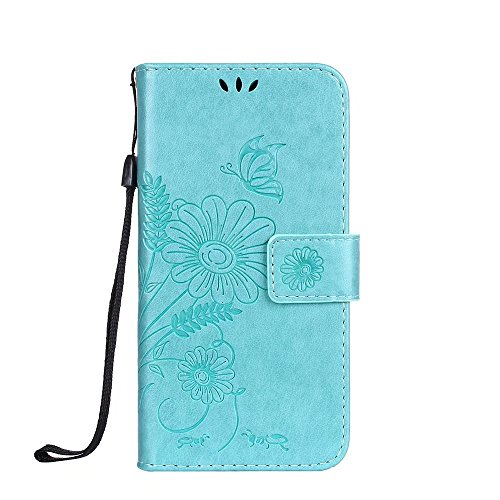 JIALUN-Telefon Fall Solid Color Embossed Blumen Pattern Schutzhülle Tasche Tasche mit Lanyard & Card Slots für iPhone 6 Plus & 6s Plus ( Color : Gray ) Green
