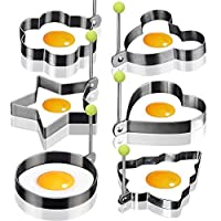 Sweton 6PCS Stainless Steel Fried Egg Mould Non-Stick Egg Rings Cooking Egg Fried Pancake Omelets Mold Rings Kitchen Tool Pancake Rings