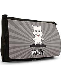 Scottish Cartoon Dogs Large Messenger Black Canvas Shoulder Bag - School / Laptop Bag