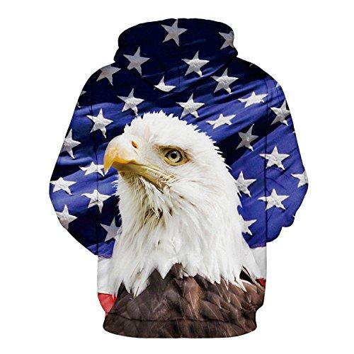 Hommes Femmes Hoodies&USA Eagle 3d imprimer Harajuku survêtements sweat-shirts Hip Hop chandail à manches longues hauts à capuchon dExtérieur Eagle