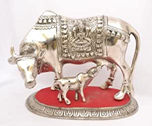 Royal Handicrafts Kamdhenu Cow & Calf - White Metal statue