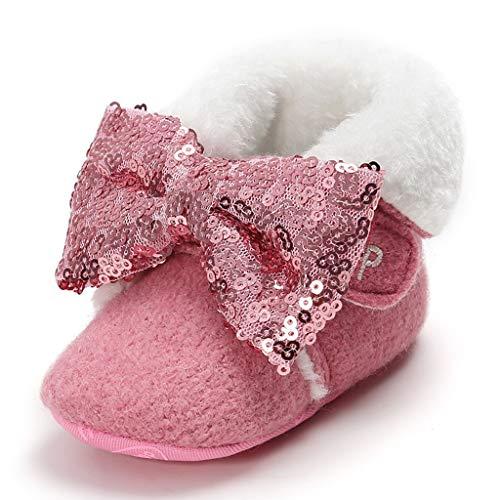 Baby Kleinkindschuhe Pailletten Bowknot Schneeschuhe Winter Warm halten Sportschuhe Socken Schuhe Jungen und Mädchen Wildledersohlen Slipper Weiche Solide Slip-On Sneaker für 0-3 Monate