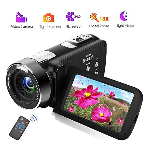 Videokamera Camcorder Full HD 18X Digital Zoom Night Vision Digital Camcorder with LCD and 270 Degree Rotation Screen with Remote Control