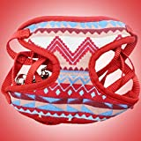 Comomingo Nylon Hundehalsband Weiche gepolsterte Hundegeschirr Weste mit Seil Haustier Weste RopeRed