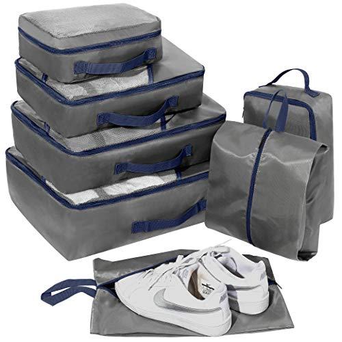 Set di 7 Organizer Viaggio, Cubi per Valigia, Faxsthy Organizzatore Packing Cubes per i Vestiti Scarpa Cosmetico (Noir+rouge) (Gris)