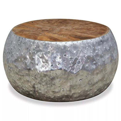 WEILANDEAL Table Basse Aluminium Teck 60 x 60 x 30 cmMateriau : Structure en Aluminium et Dessus de Table en Teck avec Finition a L'Huile. Table Basse Jardin