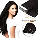 20inch , 1B# : Neitsi 20pcs/pack 100% Tape in Human Hair Weft Extension Straight Glue Hair Weft (20inch, 1B#)