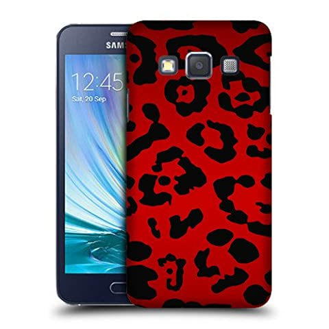 Case Fun Red Leopard Print Snap-on Hard Back Case Cover for Samsung Galaxy J3 (2016)