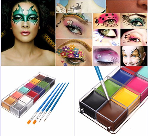 luckyfine-facebody-paint-oil-painting-12color-art-makeup-set-halloween-party-fancy-dress-4-x-brushes