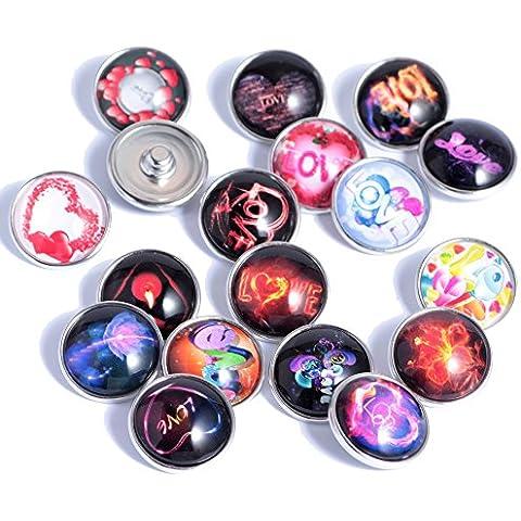 Soleebee De aluminio de cristal del amor del corazón Snap Charms Botones de joyería y accesorios de bricolaje (paquete de 12)