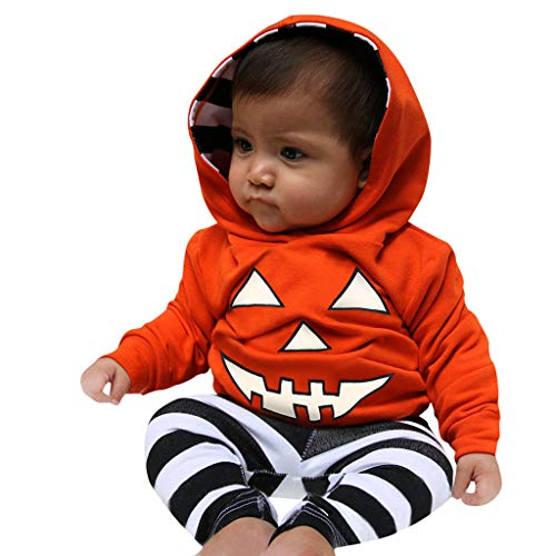 ToDIDAF Halloween Kostüm 0-2Y Infant Langarm Halloween Pumpkin Hooded Top Streifen Hosen Set für Halloween Party Festival Karneval Parade Orange - Parade Qualität Kostüm