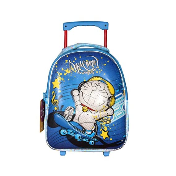 Handcuffs Disney Doremon 5D Embossed Polyester Trolley/Travel Bag Rolling Backpack (Multicolour, 9 to 17 Years)