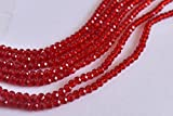 #7: The Design Cart Dark red Transparent Tyre / Rondelle Shaped Crystal Beads ( 1 Line ) ( 6 mm )