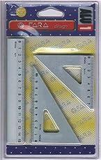 Set FARA Tre Pezzi Alluminio - 1 Riga cm. 15 - 1 Squadra cm. 12 x 45° + 1 Squadra cm. 12 x 60°
