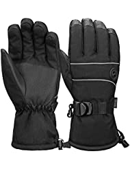 Terra Hiker Ski Gloves for Men, Waterproof Windproof 3M Thinsulate Warm Winter Snowboard Gloves Insulated Gloves with Adjustable Cuffs for Riding, Snowboarding, Skiing and other Winter