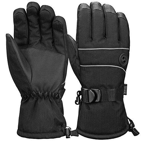 Terra Hiker 3M Thinsulate Skihandschuhe, Herren Wasserdichte Handschuhe für Wintersports (Schwarz, L)