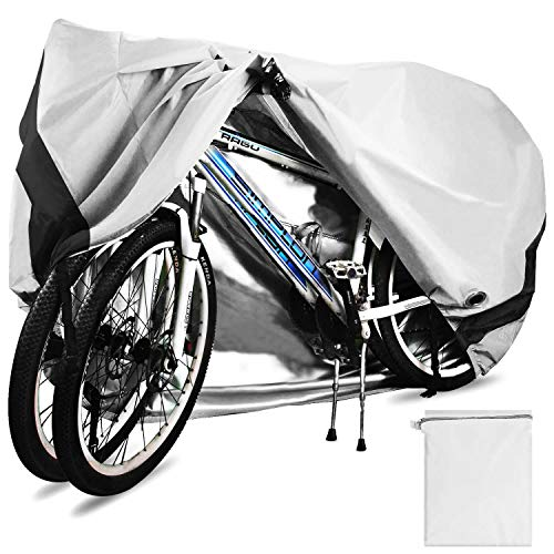 Temork Fahrradabdeckung für 2 Fahrräder, Wasserdichte 420D Oxford-Gewebe Atmungsaktives Draussen Fahrrad Schutzhülle mit Schlossösen Schutz, für Mountainbike und Rennrad 29 Zoll (Silber)