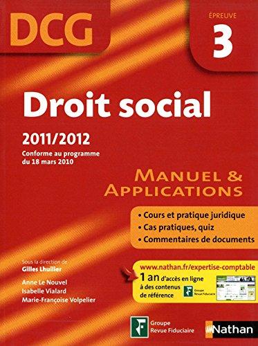 DROIT SOCIAL EPREUVE 3 DCG 11
