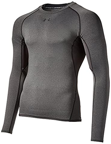 Under Armour Hg T-Shirt manches longues de compression Homme Carbon Heather/Black FR : M (Taille Fabricant : MD)